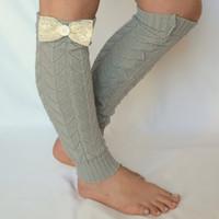 leg warmers - grey leg warmers with lace bow chunky leg warmer girly leg warmer boot socks valentines day gifts birthday gifts