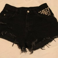 BLACK DENIEM HIGH WASTED SHORTS  from Grunge Supply
