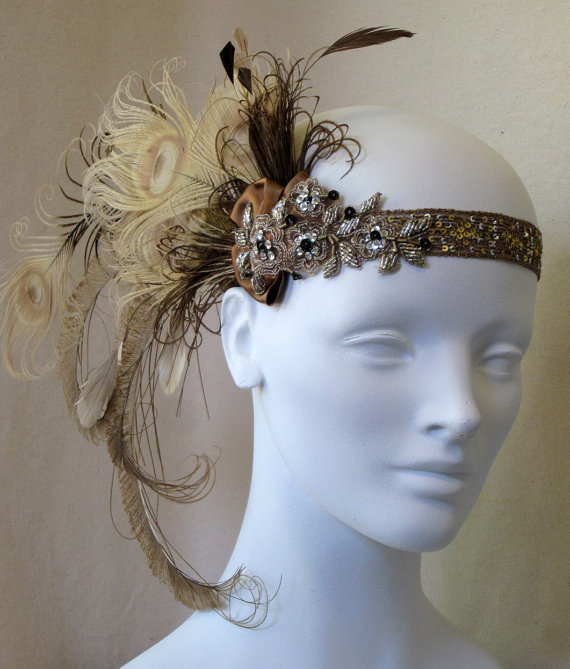 Bronze And Champagne Peacock Feather Flapper by BaroqueAndRoll