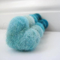 Aqua and Teal Needle Felted Heart Pebbles  Valentine&#x27;s by SweetPB