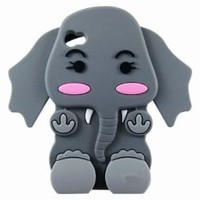 Cute 3D Cartoon Elephant Silicone Case Cover Skin for iPhone 4 4S Gray