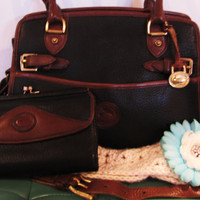 Dooney & Burke AWL handbag and matching wallet. black and brown vintage Dooney and Burke. Valentines day gift for her