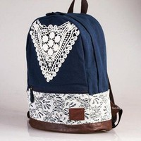 Blue Canvas Backpack With Lace from Tulita
