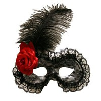 Black Lace Masquerade Eye Mask Flower