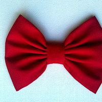 Classy candy apple red hair bow, girls hair bow, fabric hair bow