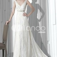 Elegante Classico a-line V-Ausschnitt Brautkleid - Milanoo.com