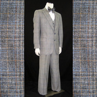 70s Suit Vintage Men's Austin Reed Three Piece Glen Plaid Blue Gold Vest 42 44