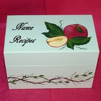 Recipe Box, Wood Recipe Card Box Painted Sage Green Wooden Personalized Custom Apples