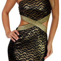 Graffiti (Black/Gold)-Great Glam is the web's best online shop for trendy club styles, fashionable party dresses and dress wear, super hot clubbing clothing, stylish going out shirts, partying clothes, super cute and sexy club fashions, halter and tube to