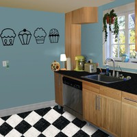 4 Cupcakes - Kitchen / Nursery Vinyl Wall Art Decal Sticker Decor