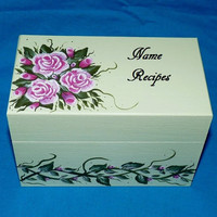 Recipe Box, Wood Recipe Card Box Painted Roses Wooden Personalized Custom