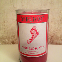 Pink Recycled Wine Bottle Candle, Barefoot Pink Moscato with Cranberry Pear Bellini Scent