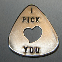 Guitar Pick I Pick You with Heart Cut Out Handmade by NiciLaskin