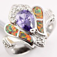 Size 6 New Sim. Amethyst Orange Fire Opal CZ Gemstone Sterling Silver Ring from TORNADO'S TREASURES