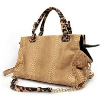 WINDA Oversize Beige Faux Crocodile / Leopard Animal Print Accents Double Top Handle Top Closure Sh