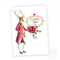 Valentines Day Card, Deer, Woodland, Anthropomorphic, Antlers, Red Heart, Flower,  Greeting Card