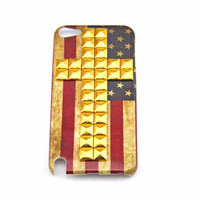 iPod touch 5 hand Case Cover with cross bronze pyramoid stud for appleipod touch 5 hard Case, ipod touch 5 case  0004