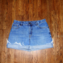 Vintage Denim Cut Offs - 90s Light Stone Washed Blue Jean DENIM Shorts - High Waisted Cut Off/Frayed/Distressed SHORT Shorts - Plus Size 14