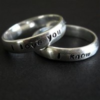Han & Leia Solid Sterling Silver Wedding Bands - Spiffing Jewelry