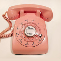 WORKING - Pink Rotary Phone Telephone  1965