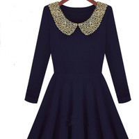 Dark blue dress with shining collar