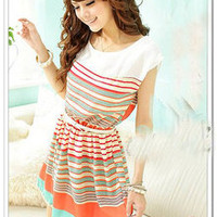 Dress with colorful strips and white belt
