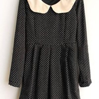 Lapel Long Sleeve Polka Dots One-piece Dress,Cheap in Wendybox.com