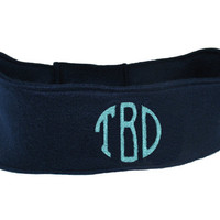 Monogrammed Fleece Head Warmer Fleece Headband - Circle Block