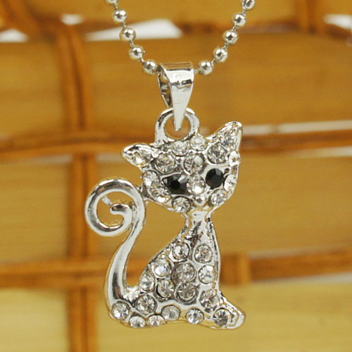 Nifty Little Cat Shape Ladies Silver Necklace : Wholesaleclothing4u.com