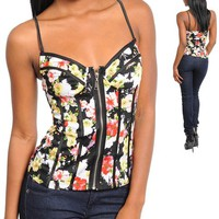 NEW Medium or Large Floral Black Pink Corset Bustier Top FREE SHIPPING from TheNoirStar