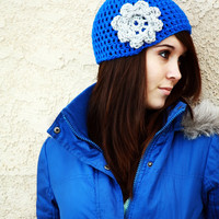 Bright Blue Beanie with Grey Flower
