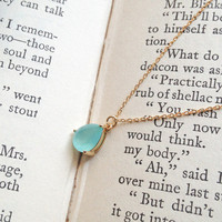 Mint drop glass stone gold chain necklace from Flowerdays