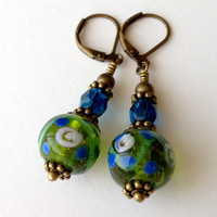 Beaded Earrings Green and Blue Glass Victorian by silverthaw