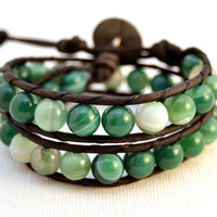 Chunky natural double wrap bracelet. Green bead bracelet. Beaded earthy leather wrap
