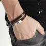 Mens Dark Brown Leather Bracelet With Stainless Steel Clasp 16''