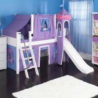 Purple Princess Castle Bed with Slide by Maxtrix Kids