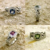 Order Your Custom Diamond Leaf Engagement Ring in Platinum or Gold with Cushion Cut or Oval Gemstone
