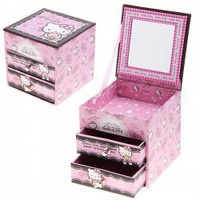 Hello Kitty Drawer Shape Cardboard Storage Box Jewellery Box with Mirror
