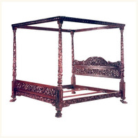 Royal Nizam Carved Burma Teak Bed ,Anglo ,Indian ,Burma ,Teak ,Bed ,Bedroom ,Reproduction