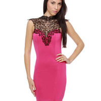 Lyric Poetry Lace Fuchsia Dress