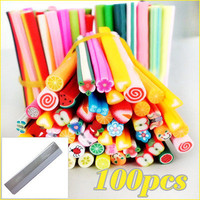 100x Nail Art Fruit Flower Phone Fimo Canes Rods Sticker Decoration + Blade DIY