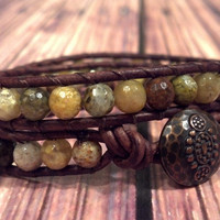 Snakeskin Agate ouble Leather Wrap Bracelet, Shabby Chic, Bohemian, Gemstone Leather Bracelet, Southwest Chic Jewelry