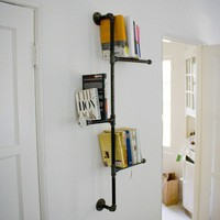 Industrial Pipe Bookshelf with Antique Knob.