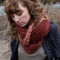 Ombre Braided Rust Scarf