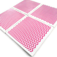 Ceramic Tile Coasters Set of Four Felt Backing Pink Chevron