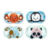 RazBaby Keep-It-Kleen Pacifiers - Pack of 4 (Finley Clown Fish, Ethan Penguin, Percy Puppy