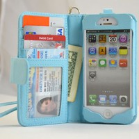 Navor iPhone Life Protective Deluxe Book Style Folio Wallet Leather Case with Removable Strap for i