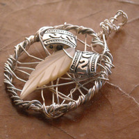 Shell Feather Pendant by CraftyKikis on Etsy