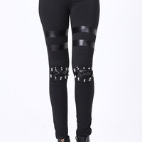 ROMWE | Rivets Detail Knee Leggings, The Latest Street Fashion