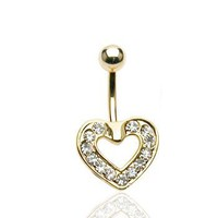 CZ Paved Heart 14K Gold Plated Belly Button Navel Ring